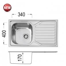 Кухненска мивка Серия PRIME 80 DB 17OKP X От Мебели домино Варна